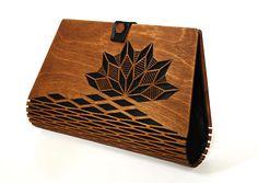 Wooden clutch Silk clutch Evening clutch wooden bag modern
