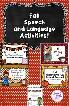 Need activities for the fall? Need to work on sentence structure, vocabulary, following directions, answering questions, and more?! Check out these fall themed activities for speech and language!