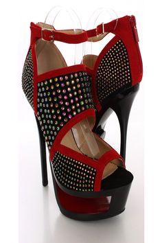 5ddec921ba45 Black Red Rhinestone Platform Heels   Sexy Clubwear