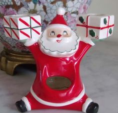 SALE 50s Japan Holt Howard Lefton Santa Christmas Candle Holder Presents