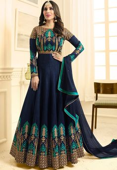 Wholesale Occasional Wear Anarkali Style Embroidered Raw Silk Gown Suit At Factory rates. Silk Anarkali Suits, Anarkali Gown, Long Anarkali, Designer Anarkali Dresses, Pakistani Dresses, Designer Dresses, India Fashion, Fashion 2020, Costumes Anarkali