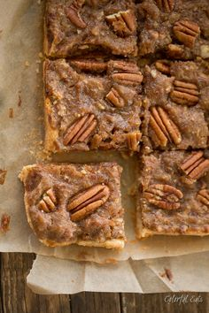 Date Sweetened Paleo Pecan Pie Bars by Colorful Eats