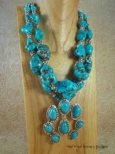 Cowgirl Necklace Set  Chunky Turquoise Howlite Nuggets