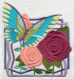 Art Deco Butterfly and Roses