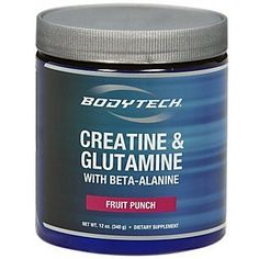 BodyTech Creatine and Glutamine w Beta Alanine Fruit Punch 12 oz Powder -- Want additional info? Click on the image.