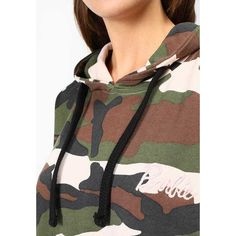 BARBIE CAMO CROPPED Sweatshirt khaki (£33) ❤ liked on Polyvore featuring tops, hoodies, sweatshirts, cut-out crop tops, camo print top, camouflage sweatshirt, camo sweatshirts and camouflage top