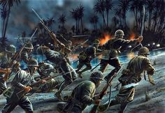 """Esercito Imperiale Nipponico - """"Battle of Tenaru, one of the first major actions of the Guadalcanal campaign"""" Peter Dennis Battle Of Saipan, Battle Of Iwo Jima, Military Art, Military History, Guadalcanal Campaign, Army Drawing, Osprey Publishing, Military Drawings, Islands In The Pacific"""