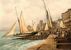 [Beach-Yachts Starting, Hastings, England] [between ca. 1890 and ca. Hastings East Sussex, Hastings England, Old Pictures, Old Photos, Hastings Seafront, Hastings Beach, Luxury Sailing Yachts, Library Of Congress, British Isles