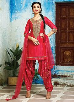 Raw Silk Pink Patiala Suit