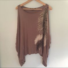 Forever 21 Taupe Cut-Out Shoulder/Sleeves Top Worn once and in perfect condition. Brown/taupe colored shirt with cut out sleeves and a feather design on the front. Forever 21 Tops