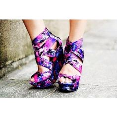 Shoes: floral wedges purple galaxy print high heels ❤ liked on Polyvore