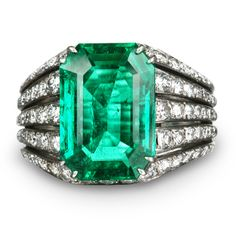 3.51 carat Colombian emerald set in platinum with diamonds