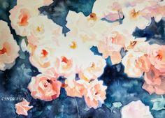 Original Art Watercolor painting  PINK ROSES by Cindysunart