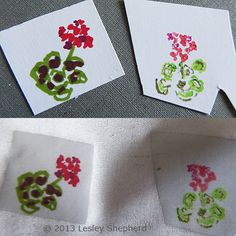 Use the Right Paper for a Range of Miniatures: Drawings on Transfer Artist Paper (TAP) scraps shown with the images transferred to fine silk fabric. The image on the left was done with marker while the image on the right was drawn with watercolor pencil.