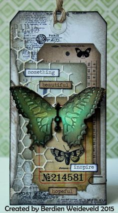 Scrap from Bemmel: Another butterfly! using Tim Holtz, Ranger, Idea-Ology, Sizzix and Stamper& Anonymous products; Atc Cards, Card Tags, Gift Tags, Vintage Tags, Timmy Time, Mixed Media Cards, Handmade Tags, Butterfly Cards, Green Butterfly