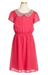 Soprano Beaded Collar Chiffon Dress (Big Girls)