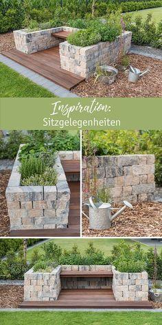 Inspiration: Sitzgelegenheiten aus Mauersteinen mit der SIOLA® Mini Muschelkalk.