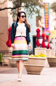cute & little   petite fashion blog   j.crew pop stripe skirt, j.crew jackie cardigan sherwood green, gucci marmont bag   st. patricks day green outfit inspiration