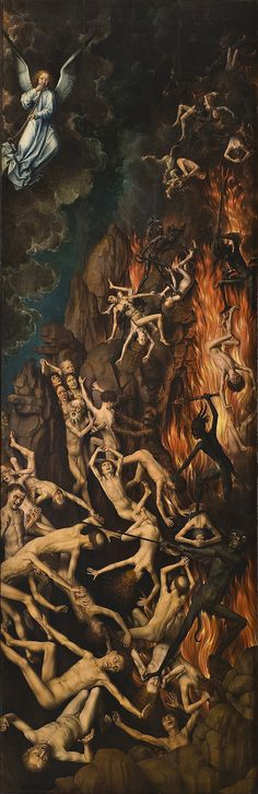 Hans Memling (German, c. 1433-1494). Right panel of The Last Judgment triptych depicting the damned being dragged to Hell. Oil on panel, 1466-1473. National Museum, Gdańsk, Poland