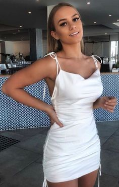 White Satin Dress, Ruched Dress, Satin Dresses, Sexy Dresses, Cute Dresses, Dress Outfits, Short Dresses, Bodycon Dress, Fashion Outfits