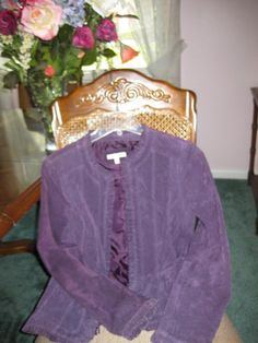 NEW YVONNE AND MARIE PLUM SUEDE JACKET RUFFLED TRIM SIZE 8