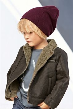 Shearling coat & beanie. Boys Kids Fashion