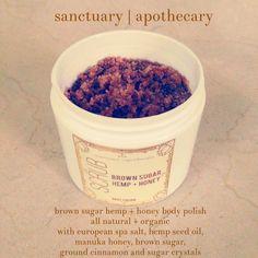 Brown Sugar Hemp & Honey Body Polish Body Scrub by sanctuary apothecary • all natural • exfoliant • active new zealand manuka honey UMF 22 on Etsy, $18.99