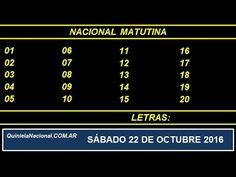 Quiniela - El Video oficial de la Quiniela Matutina Nacional del día Sabado 22 de Octubre de 2016. Info: www.quinielanacional.com.ar
