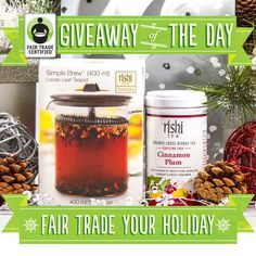 Cinnamon Plum. Can you think of a more succulent combination? The tea in this gift set from Rishi Tea is delicious on its own or as a mulling spice infused into wine or apple cider. Enter to win here: http://fairtradeusa.org/holidays/gift-guide#giveaway [TODAY ONLY]