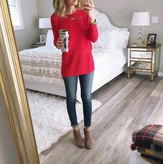 jeans + red sweater