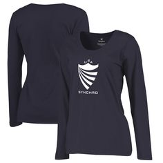 d479f96cf5b USA Synchro Fanatics Branded Women's Primary Logo Plus Size Long Sleeve T- Shirt - Navy