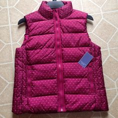 Polka Dot Vest Pink polka dot vest. Zippers closed. Two pockets that also zipper. Brand new w tags Laura Scott Jackets & Coats Vests