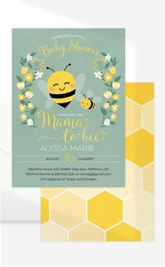 Celebrate the mama-to-bee with a bee themed baby shower. Download instantly to personalize, print and send by mail or send digitally via email/text. #babyshower Baby Shower Desserts, Baby Shower Parties, Baby Shower Themes, Baby Shower Decorations, Shower Ideas, Navy Baby Showers, Garden Baby Showers, Baby Shower Printables, Baby Shower Invitations