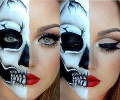 23 Cool Skeleton Makeup Ideas for Halloween - Halloween Gesicht - Makeup Skeleton Makeup Half Face, Half Skull Makeup, Cool Skeleton, Pretty Skeleton Makeup, Halloween Look, Halloween Makeup Looks, Halloween Skull, Halloween Party, Halloween Inspo