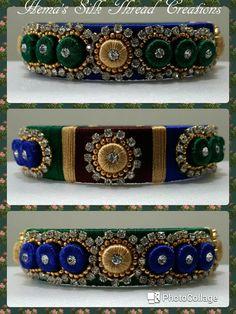 Silk Thread Bangles Design, Silk Thread Earrings, Thread Jewellery, Diy Jewellery, Jewelry Making, Diy Bracelets Easy, Bridal Bangles, Silk Art, Thread Art