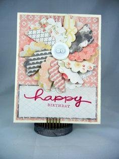 Birthday Card  Pinwheel Flower 3D Button by TweetandHootPaper
