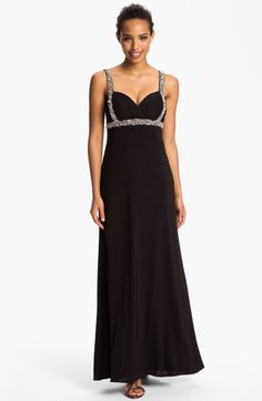 Betsy & adam Embellished Open Back Jersey Gown in Black
