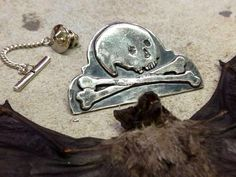 Headstone Skull & Crossbones Tie Pin Brooch by Lucyguy on Etsy
