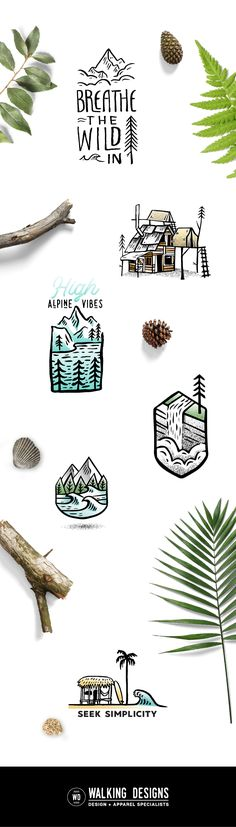 Nature inspiration, simple, illustration, vector, graphic, logos, designs for merchandise and branding.