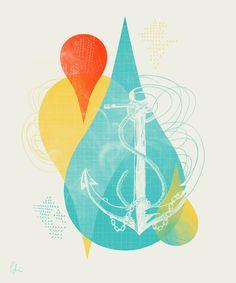 Dropping Anchor Art Print by Sarah Palisi Design Anchor Art, Board For Kids, Textile Patterns, Textiles, Nautical Theme, Pattern Art, Plastic Case, Ipad Mini, New Art
