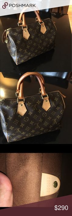 Authentic Louis Vuitton Speedy 25 monogram Authentic Louis Vuitton speedy 25. This is the smallest size speedy bag. Do not have dust bag or box. Inside of the bag is in good condition. Major flaw is that piping is torn  and corners are exposed ( please see photos). Handles also show some darkening. Aside from that bag looks good. Please let me know if you need more photos. Has lock but no key Louis Vuitton Bags Satchels