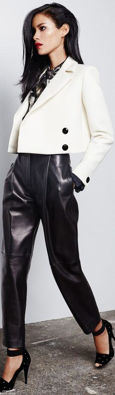 Pedro del Hierro ~ Fall Black Leather Pant w Cropped White Jacket, 2015 Madrid