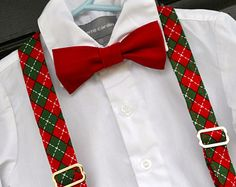 Red Christmas Holiday Bowtie Bow Tie and Red / Green Argyle Suspender Set - Baby / Toddler / Child