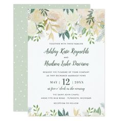 Watercolor Wedding Invitations | Neutral Blooms