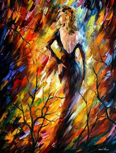Queen of Fire — PALETTE KNIFE Oil Painting On Canvas By Leonid Afremov #art #painting #fineart #modernart #canvas