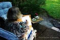 the artist at work with her tea