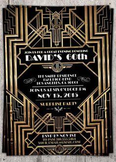 Great Gatsby wedding shower invitation, Hollywood film theme, birthday party invite Black and gold glam printable digital invite, bridal Great Gatsby Party, Great Gatsby Invitation, 20s Party, Invitation Ideas, Invitation Templates, Shower Invitation, Roaring Twenties Party, Roaring 20s, 50th Birthday Party Invitations