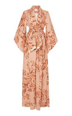 Cabbage Rose Sash-Tie Linen Dress by Johanna Ortiz Muslim Fashion, Hijab Fashion, Fashion Outfits, Bath Robes For Women, Fantasy Gowns, Women Wear, Ladies Wear, Celebrity Look, Apparel Design