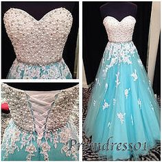 Cute A-line blue tulle applique long evening dress, prom dress 2015, ball gown