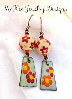 Poppy flowers. Orange, yellow, copper enameled charm earrings.